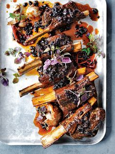 sticky beef ribs with salted black beans | Donna Hay. Do the pre-cooking in the pressure cooker to save time.