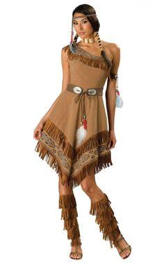 Pocahontas-damenkostüm-mit-fransen-fasching-Perücke-mit-Zöpfen