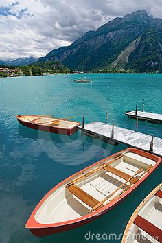 Rowboats on Lake Brienz in the district of Interlaken in the canton of Berne in Switzerland....dream