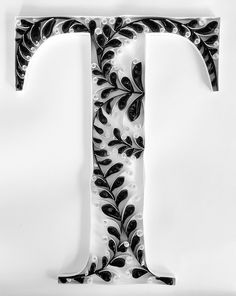 Quilled Letter T Monogram - Black & White Vines #quilling #monogram #blackandwhite #vines
