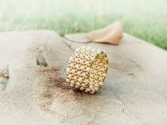 Band ring Modern textured cream gold peyote ring by CallOfEarth, $27.00