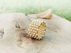 Band ring, Modern textured cream gold peyote ring