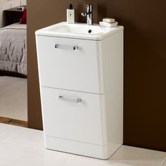 HiB Palamas White Floor Standing Vanity Unit and Basin 500mm