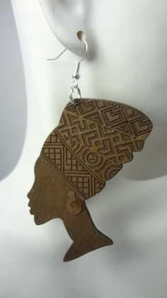 """3"""" Wooden African Lady Silhouette Earrings - Beez Afrocentric Clothing & Accessories"""