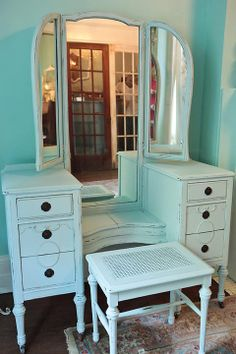 Antique Vanity Blue Shabby Chic Dressing Table Flea Pop