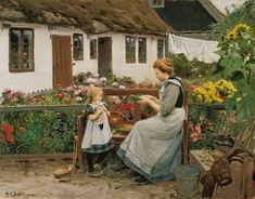 The artwork At the garden bank. - Hans Andersen Brendekilde we deliver as art print on canvas, poster, plate or finest hand made paper. French Art, Mother And Child, Pilgrim, Beautiful Paintings, Artist Art, American Artists, Vintage Prints, Art For Kids, Art Children