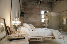 Shabby chic design with a floating bed!