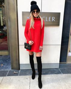 "8,920 Likes, 250 Comments - Macy Stucke (Stuck On Style) (@macystucke) on Instagram: ""Happy Black Friday, babes!!! • This sweater dress is currently 50% off and my @stuartweitzman boots…"""