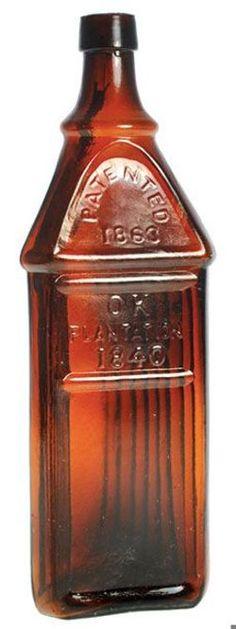 OK Plantation 1840, Patented 1863, Triangular, Apricot Puce, 11 inch.