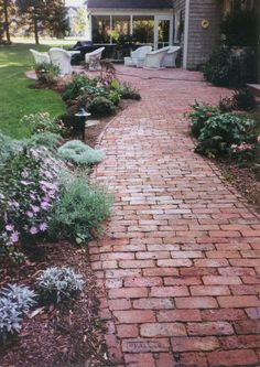 brick walk  jillminerva.com - Modern Design Brick Pathway, Concrete Walkway, Brick Garden, Pallet Walkway, Stone Walkway, Diy Garden, Garden Cottage, Garden Paths, Gravel Garden