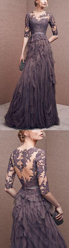 Long prom dress, lace prom dress, elegant prom dress, half sleeves prom dress, unique prom dress, formal prom dress, PD15273 #prom #promdress #promdresses #longpromdress #longpromdresses