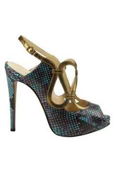 Alexandre Birman teal snake skin sandals