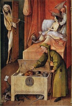 Hieronymus Bosch - Death and the Miser. National Gallery of Art, Washington D. Renaissance Memes, Medieval Memes, Medieval Art, Memes Arte, Classical Art Memes, Hieronymus Bosch, National Gallery Of Art, Memes Historia, Art History Memes