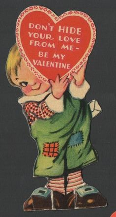 Vintage Valentines Day Card Little Blond Boy Don'T Hide Your Heart from Me 1940s | eBay