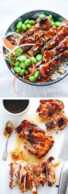 7 Spice Teriyaki Chicken Bowl with a homemade teriyaki glaze| foodiecrush.com
