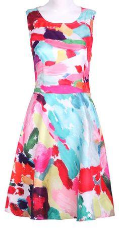 Colorful Brushwork Print Dress.
