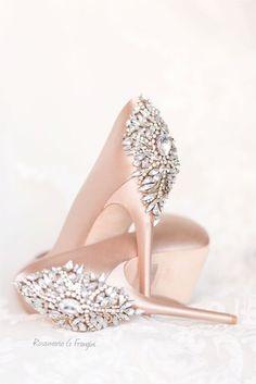 Rosamaria G Frangini | Blush Desire | MM&Co | Satin blush sho with crystals
