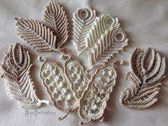 """Apliques, 4""""- 4,7"""" pulgadas (10-12 cm), Irish crochet, algodón hilado, flor, estilo boho, hojas, joyería hecha a mano, flores hechas a mano,"""