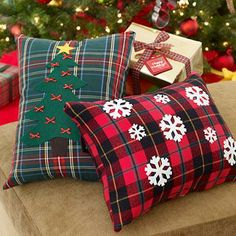 Easy holiday crafts: Turn used shirts into throw pillows, and embellish with holiday designs.