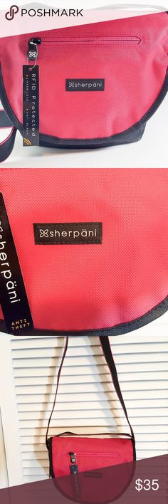 """Sherpani Red Milli Crossbody Bag with RFID Sherpani  Red Milli RFID Protected Crossbody bag is perfect for you next trip or casual outing. It's perfect for carrying your 7"""" tablet but will fit a 9"""" tablet. The interior lining is a light blue color and it has pockets for all of your essentials.  10"""" x 9.5"""" x 3.5"""" - Weight: 8 oz  Main zipper compartment, magnetic flap closure, an exterior zip pocket Under flap zipper pocket, an interior zipper pocket, two interior slip pockets 9"""" Tablet…"""