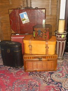 Vintage suitcase, boxes and chests. Found at Old Hotel Market, 441 Main St. New Market, MN   952 270 6056 web site http://www.theoldhotelmarket.com/ or  facebook page https://www.facebook.com/theoldhotelmarket