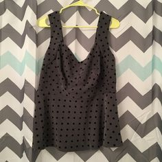 Torrid Gray & Black Polka Dot Peplum Top Size 1X Torrid Gray & Black Polka Dot Peplum Top Size 1X. Comes from a smoke free home. Let me know if you have any questions! torrid Tops Tank Tops