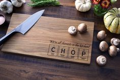 Geekery, Periodic Table Custom Engraved Wood Cutting Board - CHOP - Science College Student or Teacher Gift, Chemistry Art Cooking Gift