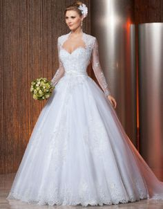 Long-Sleeves-Sweetheart-Lace-Bridal-Ball-Gown-Wedding-Dress-6-8-10-12-14-16-18