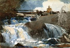 Winslow Homer (1836-1910) Casting in the Falls (1889) watercolor on paper 35.41 x 50.65 cm