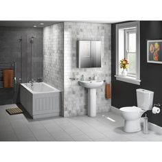 The Essentials Budget Bathroom Suite In A Stylish Ultra Modern Grey Steel Like Looking