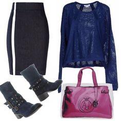 Un outfit adatto ad una passeggiata, in ufficio e anche per l'università. Composto da gonna tubino in jeans con bande laterali, maglia in rete di un blu elettrico, stivali con borchie e a primeggiare il fuxia della borsa a mano che spezza col resto degli articoli,