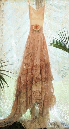 Hey, I found this really awesome Etsy listing at https://www.etsy.com/listing/512995394/crochet-lace-dress-wedding-tea-stained