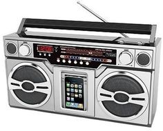 Retro Boombox Styled iPod Dock with Portable Speakers. This Boombox brings back memories from back in the day. Boombox, Radios, Stranger Things Fotos, Radio Antigua, Ipod Dock, Usb, Radio Alarm Clock, Only Play, Mini Fridge