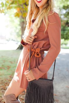 blush and camo, how to style, over the knee boots, see by chloe, fringe, 70s…