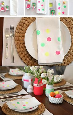 Add simple painted dots to napkins for pops of color.