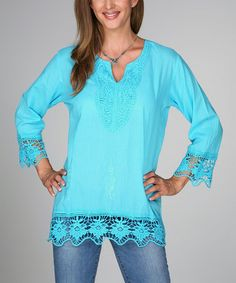 Look what I found on #zulily! Turquoise Crocheted V-Neck Tunic - Women by Ananda's Collection #zulilyfinds