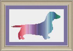 Colorful dachshund: cute dog cross-stitch pattern