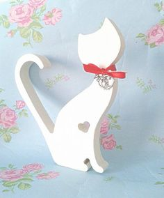 Love Heart Cat wooden cat with heart charm and by handmadebydebmac
