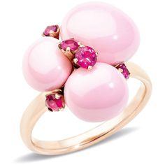 Pomellato Ring Capri (7 770 PLN) ❤ liked on Polyvore featuring jewelry, rings, pink, pomellato rings, pink ring, pink jewelry, round ring and pomellato