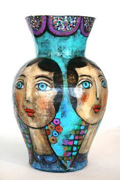 Mary Zarbano paper mache vase