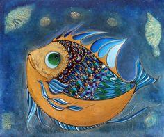 Moon Fish / Original Acrylic Ink by Xenia Hahonina #art #fishartwork #fish…