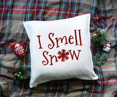 I SMELL SNOW - Christmas Pillow Cover - Gilmore Girls Pillow Cover - Gilmore Girls Quote - Winter Pillow - Christmas Home Decor - by Rose Crown Co.