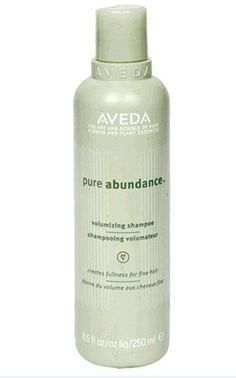 Aveda Pure Abundance Volumizing Shampoo helps produce a fullness for fine hair. Builds body and volume, with certified organic tree gum from Chad, and Africa for hair that appears fuller and feels thicker. People-tested. created in USA.