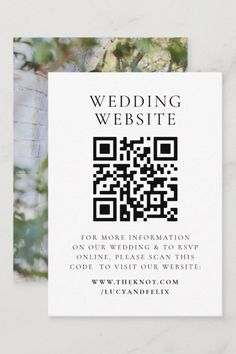 Simple, stylish wedding website (eg. theknot.com) photo enclosure card in a modern minimalist design style with a classic typography and a chic sophisticated feel. The text can easily be personalized with your names, wedding website, scannable QR code and message for a unique one of a kind wedding design to keep your friends and family up to date about your upcoming special day. Modern Minimalist, Minimalist Design, Wedding Cards, Our Wedding, Rsvp Online, Elegant Chic, Wedding Website, Zazzle Invitations, Wedding Designs