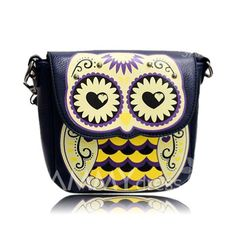 $12.14 Casual Women's Shoulder Bag With Owl Pattern and PU Leather Design
