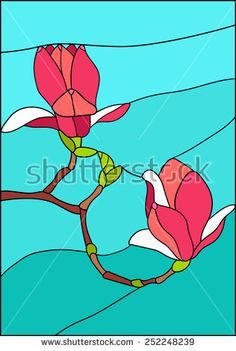 Magnolia flowers on a branch, stained glass window