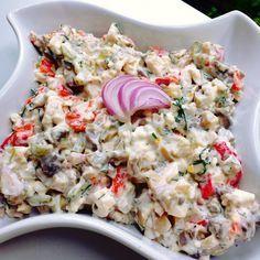 Reteta culinara Salata de pui cu ciuperci si maioneza din categoria Salate. Specific Romania. Cum sa faci Salata de pui cu ciuperci si maioneza