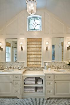 Design for the White Vanity White Shelves Clear Mirror also the Grey Backsplash | Interior Design Ideas