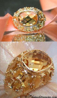 Beautiful: Citrine Ring, 13,60 cts, YG-18K -- Find out: schmucktraeume.com - Visit us on FB: https://www.facebook.com/pages/Noble-Juwelen/150871984924926 - Any questions? Contact us: info@schmucktraeume.com
