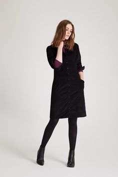 907dca1aa016 Long-sleeved corduroy shirt dress with collar. This essential layering  piece is crafted to